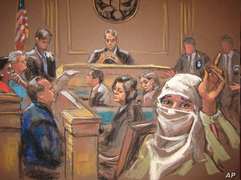 The jury foreman announcing the verdict at Aafia Siddiqui's trial in New York, 03 Feb 2010