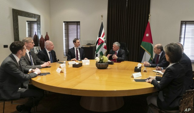Presidential advisers Jared Kushner, center left, and Jason Greenblatt, third left, meet with Jordan's King Abdullah II, center right, and his advisers, in Amman, Jordan,  May 29, 2019.