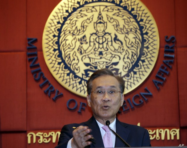 Thai Foreign Minister Don Pramudwinai talks to reporters during press conference at Foreign Ministry in Bangkok, Thailand, Friday, July 1, 2016.