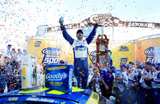 MARTINSVILLE, VA - OCTOBER 30:  Jimmie Johnson, driver of the #48 Lowe's Chevrolet, celebrates in Victory Lane after winning the NASCAR Sprint Cup Series Goody's Fast Relief 500 at Martinsville Speedway on October 30, 2016 in Martinsville, Virginia.  (Photo by Chris Trotman/NASCAR via Getty Images)