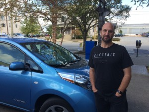 Stuart Ungar and his Nissan Leaf.