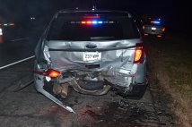 Damage left on a State Police cruiser after it was struck by an intoxicated driver. (CT State Police)
