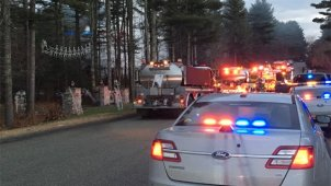 Tankers were on the scene of a house fire in Griswold on Wednesday morning.(WFSB)