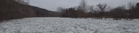 One of two reported ice jams on the Housatonic River in Kent prompted evacuations starting on Saturday. (WFSB)