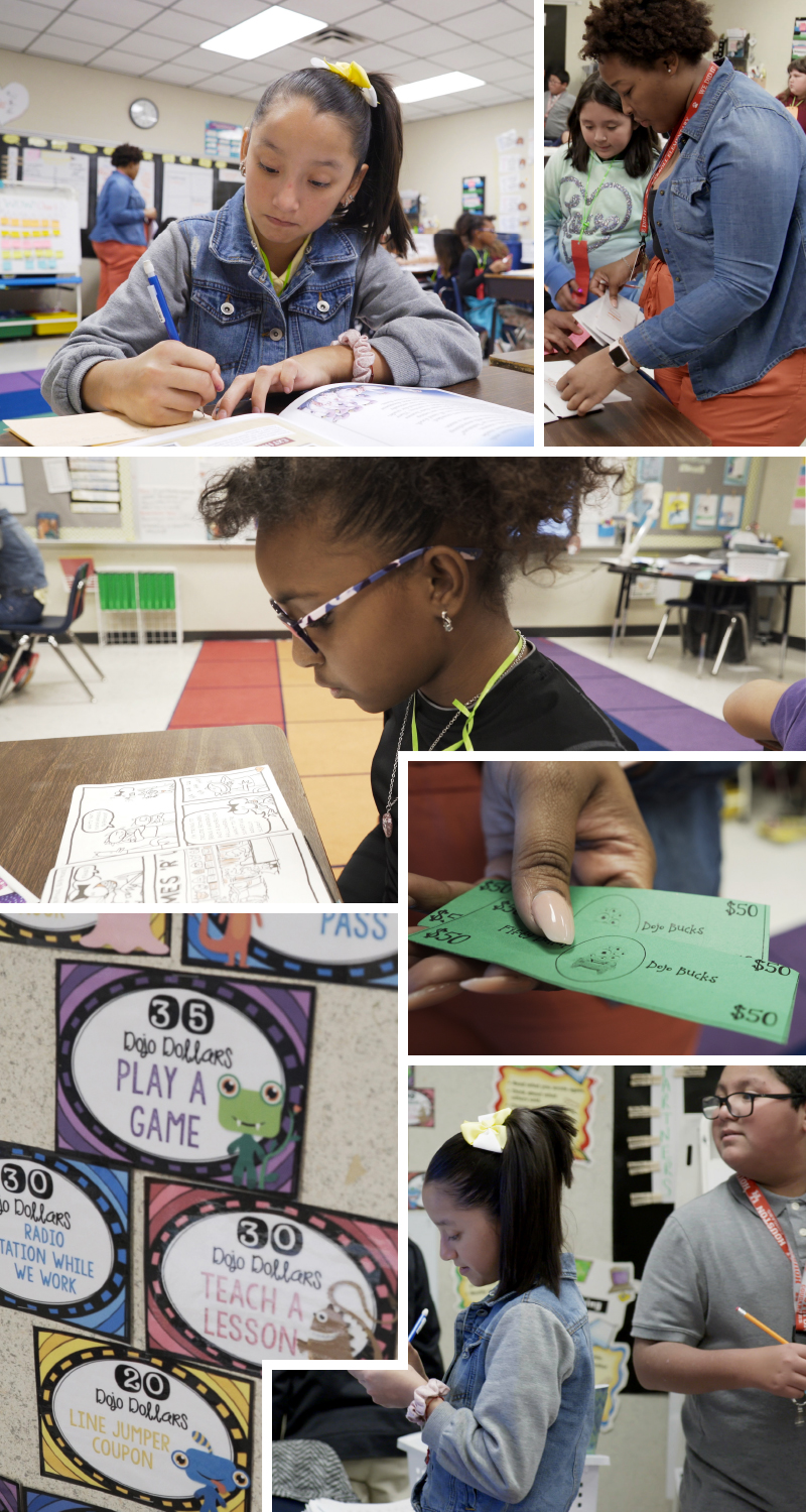 A collage of images show students sitting at a desk, a teacher working with a student, a student standing and writing, a hand with Dojo bucks, and signs on the wall about Dojo dollars.