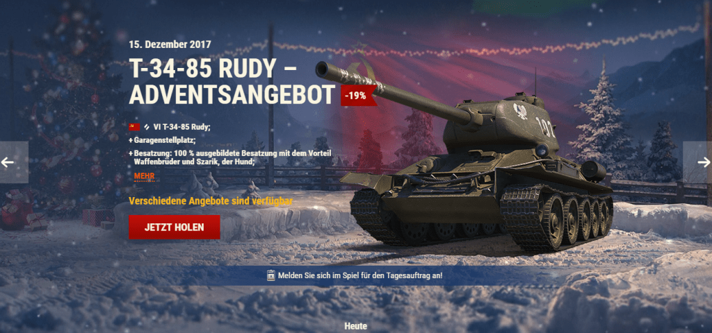 world of tanks adventskalender tag 15 t 34 85 rudy. Black Bedroom Furniture Sets. Home Design Ideas