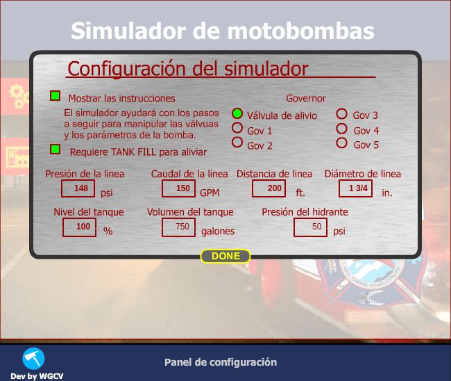 Configuración de motobomba