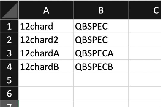 Excel screenshot showing how to import SKUs