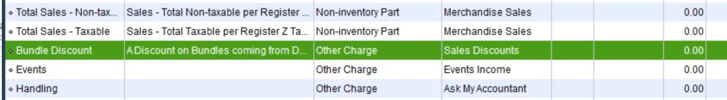 How Bundle Discount Item should look in QB
