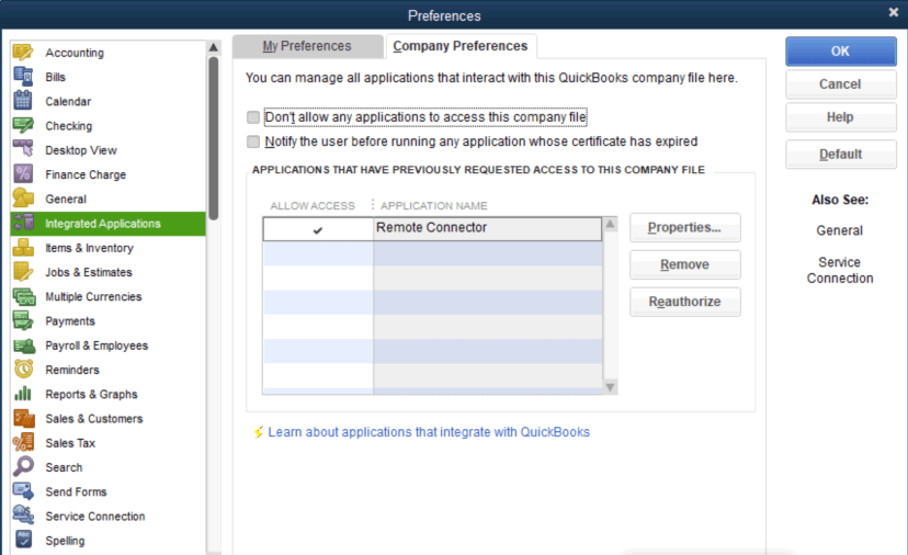 Quickbooks Settings Integrated Applications