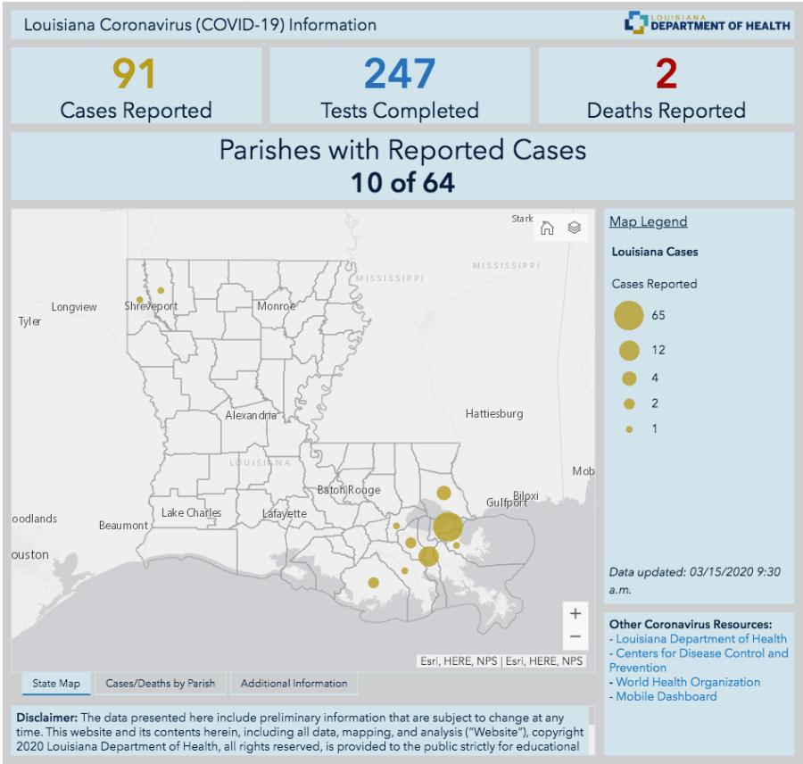 2nd Louisiana resident dies of coronavirus; 91 cases reported ...