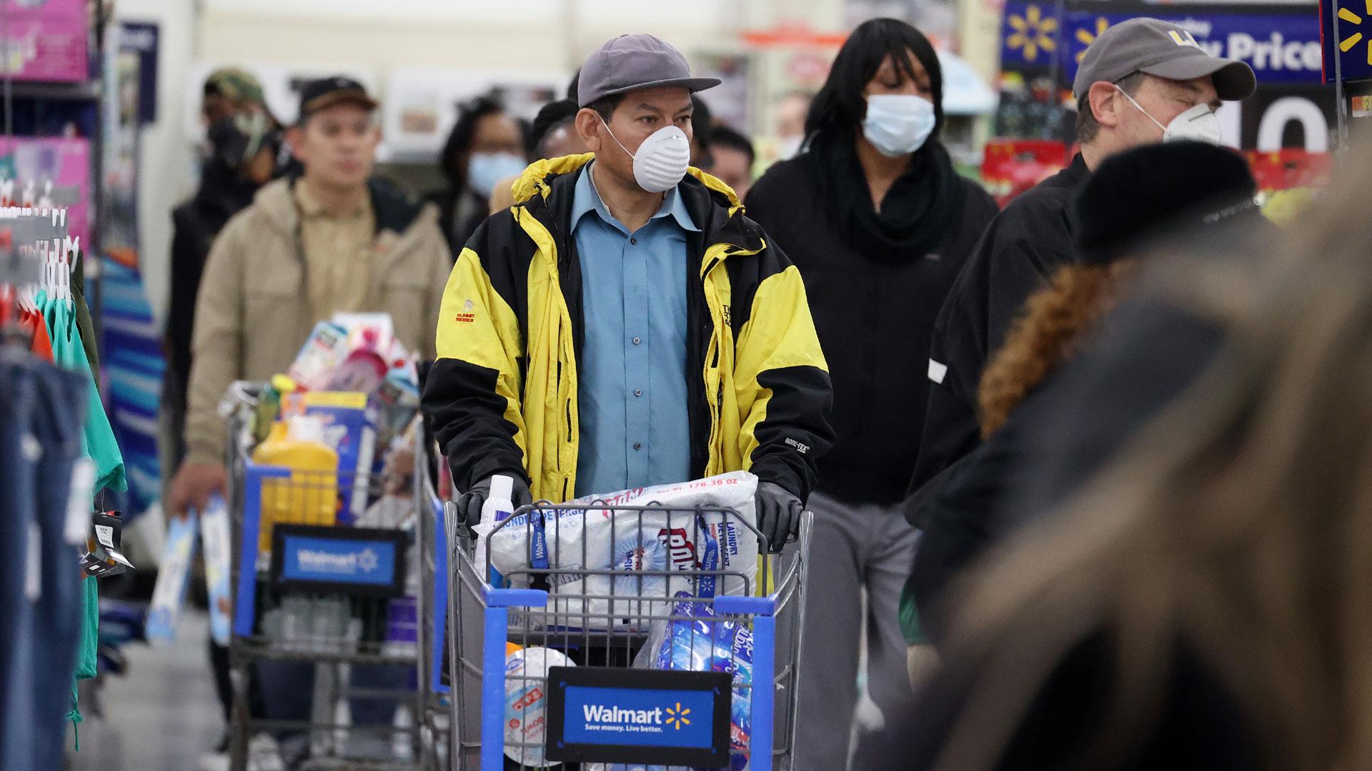 Walmart shoppers, coronavirus