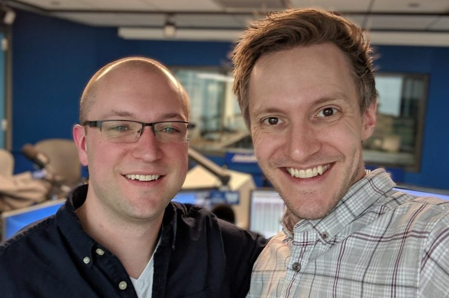 Composer and sound designer Elliot Callighan (left) and WGN Radio's Cody Gough (right)