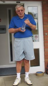 Peter Risdon with the Tennis Surrey Meritorious Award decanter
