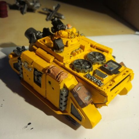 Rear view of my Imperial Fists Space Marine Vindicator Tank