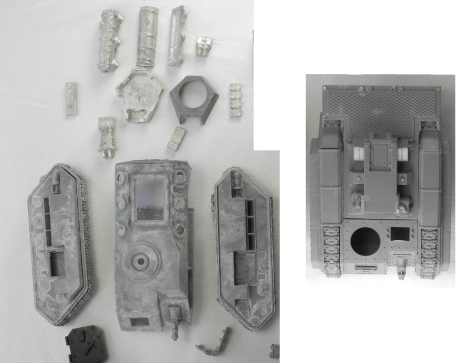 Unassembled parts of original Hellhound (left) and Basilisk (right). I moved the track covers from the Basilisk to the Hellhound to cover up missing tank track links.