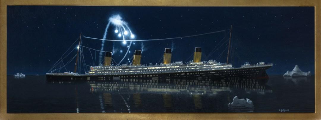 Gjertson: RMS Titanic - Oil on canvas, 20½ x 57¾