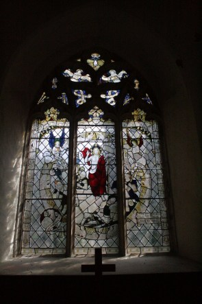 Stained glass window by the altar in the chancel