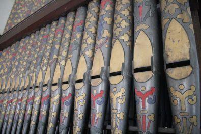 Beautiful organ pipes. Organ made by Bevington & Sons, London.