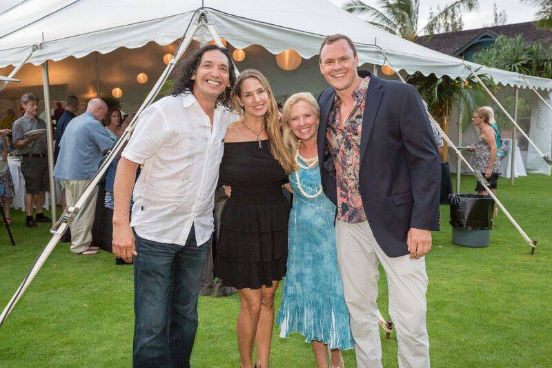 Grammy winner John Cruz, friend, Whale Trust co-founder and executive director Meagan Jones, and Lumeria Maui General Manager Douglas Wilson Drummond at Benefit event for Whale Trust Maui