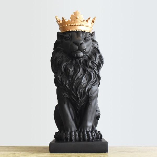 Black Crown Lion Sculpture Wham Deals