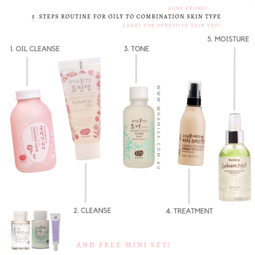 5 steps WHAMISA OILY TO COMBO SKIN ROUTINE