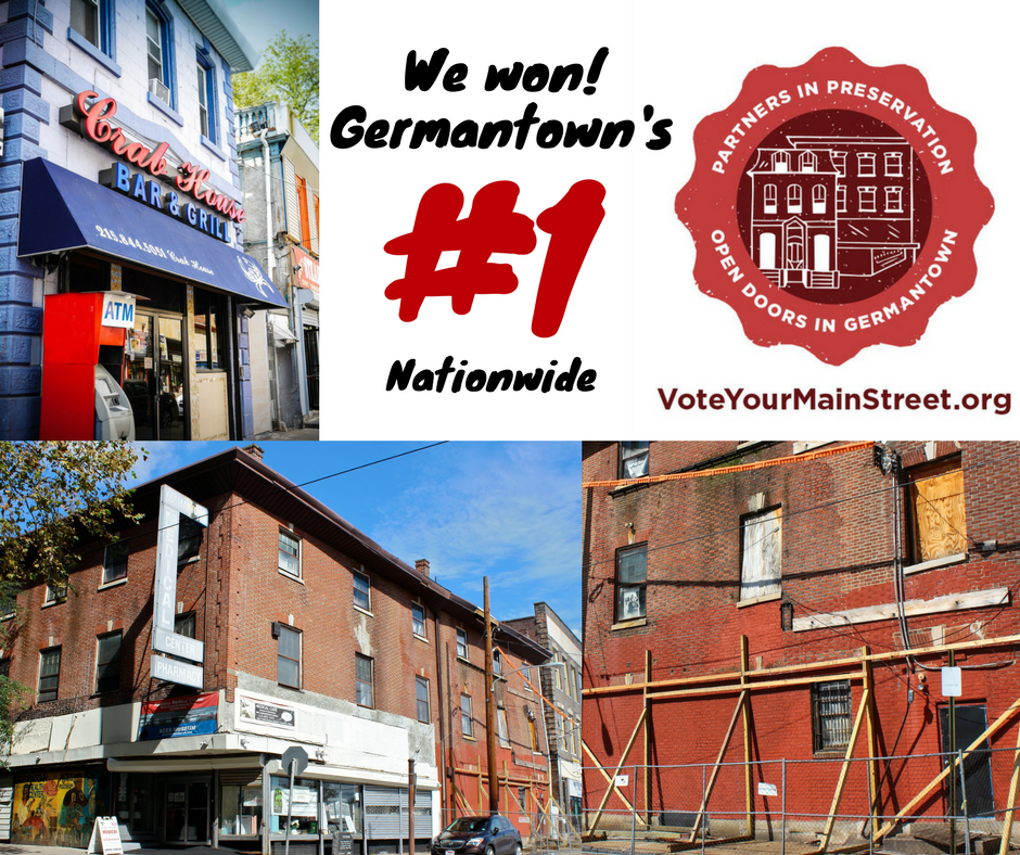 We won! Thanks to the support of our friends and neighbors near and far, Germantown finished in first place in the Partners in Preservation: Main Streets competition! This is an incredible victory for Philadelphia.