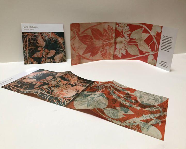 A cd sized 6 panel fold-out showcasing Gina Michaels Monotypes - Design: Susan Mangan