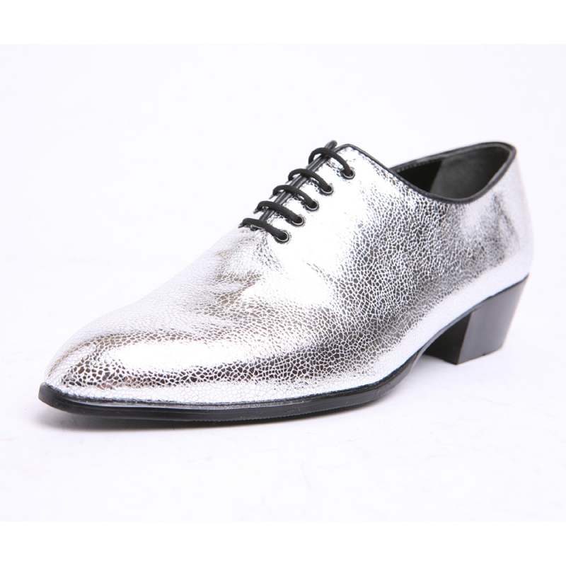 Mens Pointed Toe Glitter Silver Lace Up High Heels Oxfords