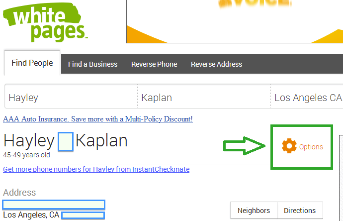 Search for your data on whitepages.com
