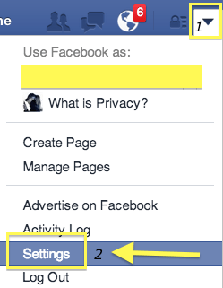 Get to your Facebook Settings