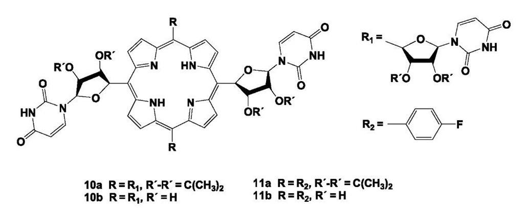 Nucleoside- and Nucleobase-Substituted Oligopyrrolic
