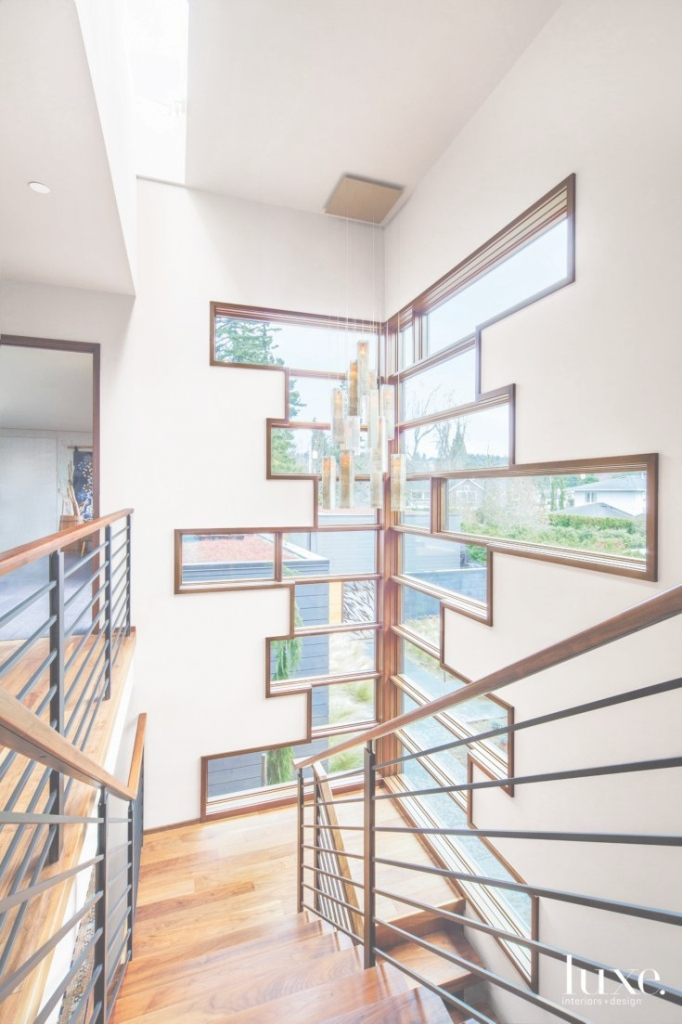 Cool Contemporary Cream Stair Tower With Windows … Rail Sta   Modern Staircase Window Design   Corner   Indian   Stair Case   Fixed Frame   Beautiful