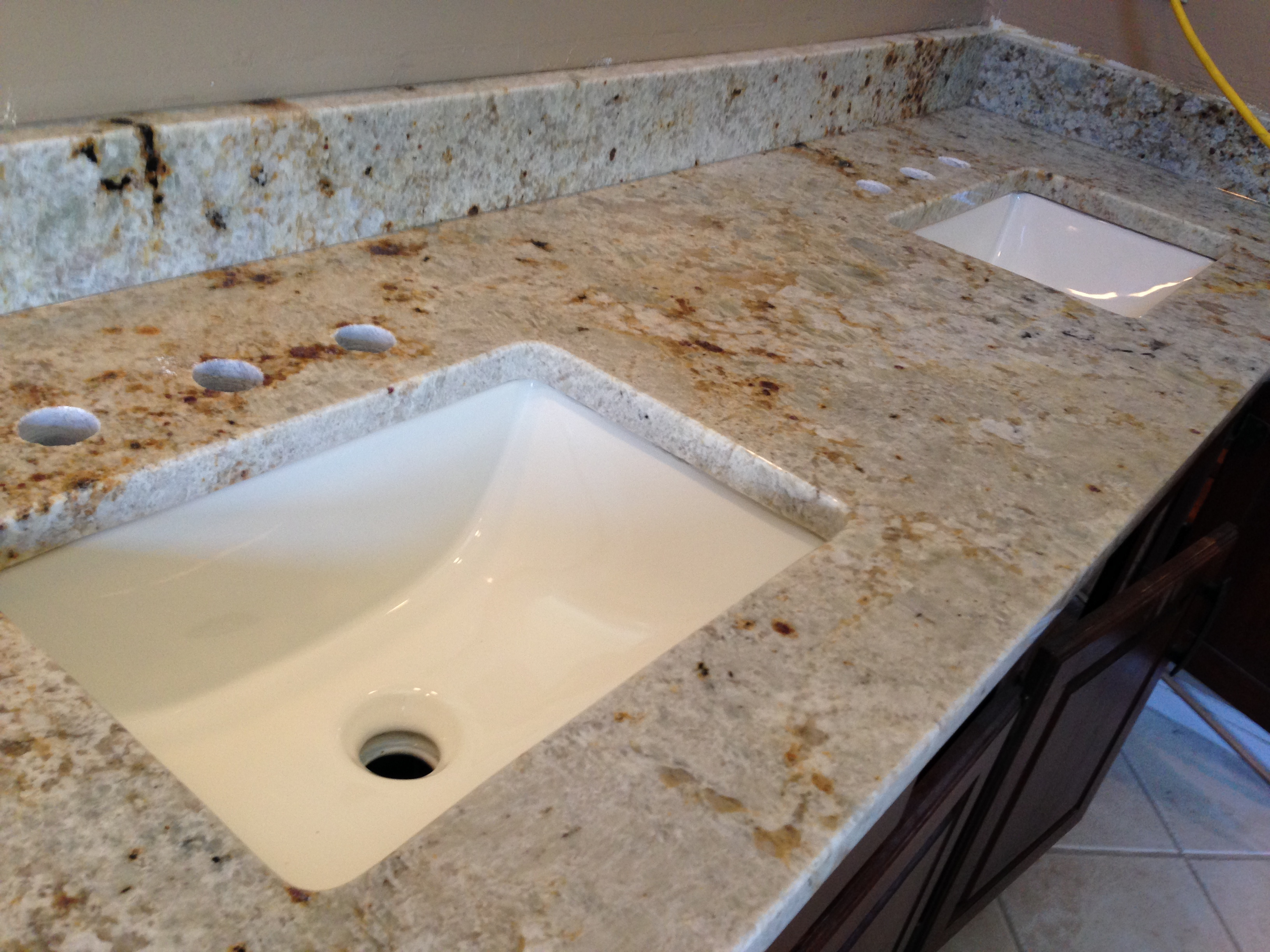 Epic Bathroom Double Sink Vanity And Colonial Cream Granite Popular Tops With Regard To Double Sink Bathroom Vanity Top Ideas House Generation