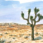 Glamorous Desert Landscape With Joshua Tree Yucca Brevifolia Ink And Intended For Desert Landscape Drawing Ideas House Generation