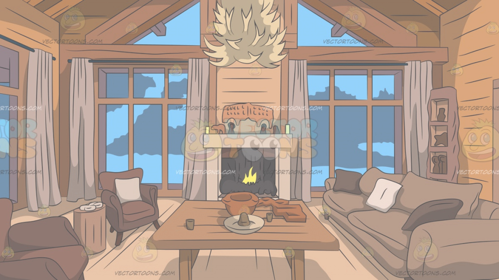 Glamorous Wood Cabin Living Room Background Cartoon Clipart Vector Toons Within Review Living Room Clipart Ideas House Generation