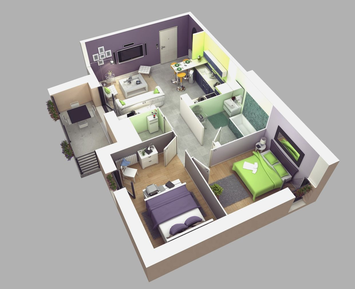 3 Bedroom House Floor Plan Design 3d