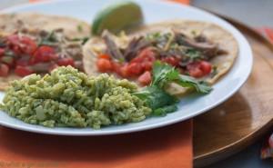 Green chili pork with cilantro rice