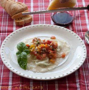 Gorgonzola Ravioli with Summer Pasta Sauce