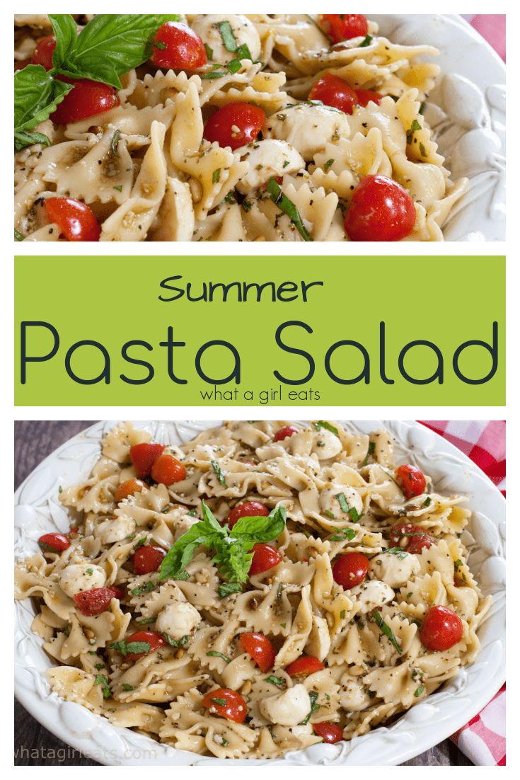 This easy summer pasta salad is tossed with fresh tomatoes, marinated mozzarella, basil and pine nuts. This vegetarian dish is perfect for potlucks and picnics!