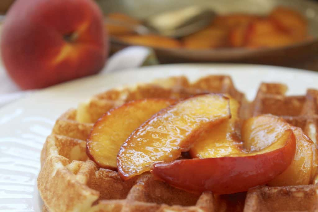 Overnight waffles with peach topping