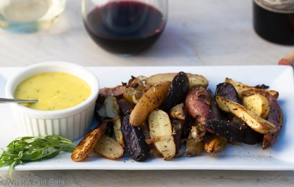 Roasted Fingerling Potatoes with Shallots, Herbs de Provence, and Tarragon Aioli.