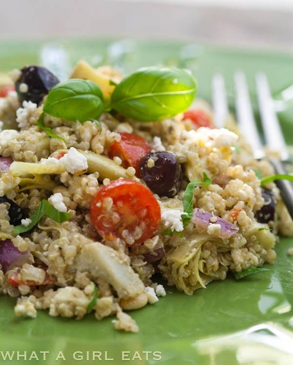 Artichoke and Pesto Mediterranean Quinoa Salad | @whatagirleats