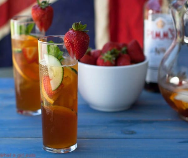 Pimm's Cup is to England, what Sangria is to Spain - a light, fruity and refreshing gin-based summertime beverage. Get the easy cocktails recipe from @whatagirleats
