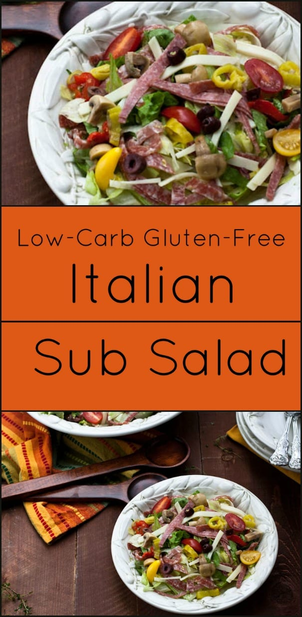 Italian Sub Salad is low-carb and gluten free...all the flavor and fun without the carbs! @whatagirleats.com