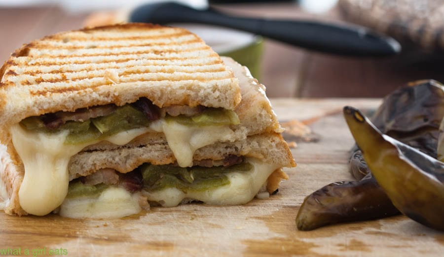 Hatch Chile Bacon Grilled Cheese Sandwich | WhatAGirlEats.com