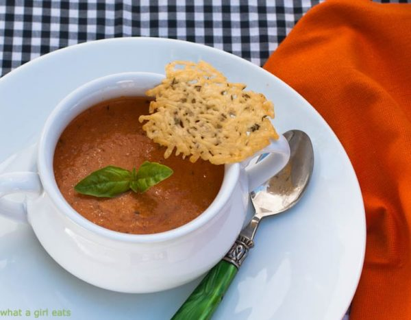 Tomato basil soup with goat cheese is gluten free and ready in under 30 minutes.