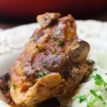 """Chicken Chasseur, """"Hunter Style"""" chicken with mushrooms, tomatoes and herbs."""