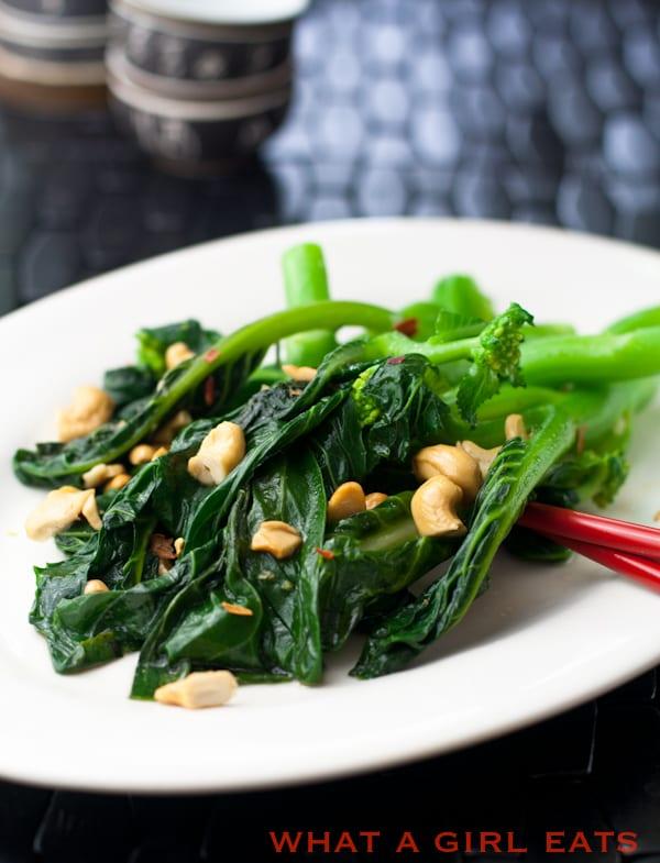 Broccoli Rapini with Garlic and Cashews.
