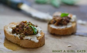 Sun-dried tomato and pistachio pesto and goat cheese bruschetta.